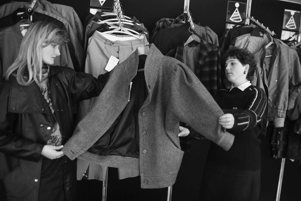 At women's clothing store in 1988