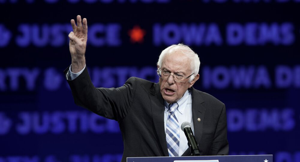 Democratic presidential candidate Sen. Bernie Sanders speaks during the Iowa Democratic Party's Liberty and Justice Celebration, Friday, Nov. 1, 2019, in Des Moines, Iowa.