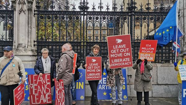 Brexit supporters rally in front of Parliament near a crowd of Remainers in London on 4 November 2019 - Sputnik International
