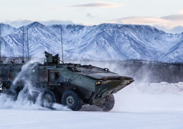 The personnel carrier variant of the Marine Corps Amphibious Combat Vehicle in Alaska
