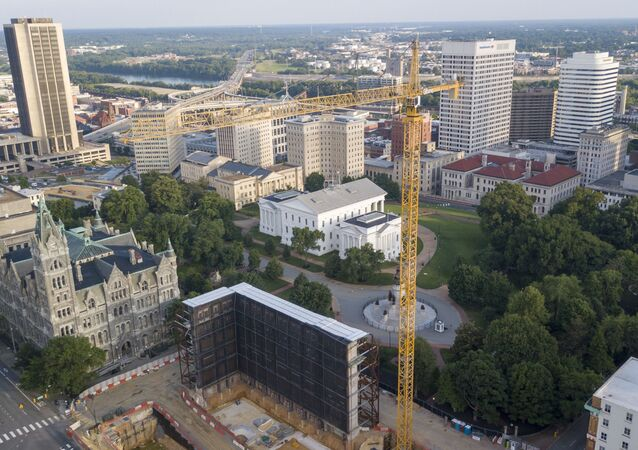The construction site of the new General Assembly building on Capitol Square in Richmond, Va
