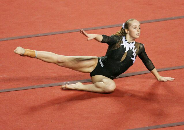 Verona Van De Leur of The Netherlands performed competes in floor exercices during the World Cup Gymnastics' final at Gent's topsporthal, 13 May 2007, in Belgium