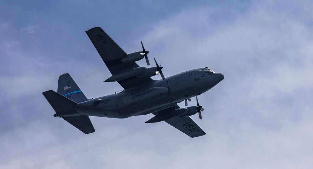 "A U.S. Air Force C-130 H2 Hercules with the Delaware Air National Guard's 166th Airlift Wing flies over the Boardwalk during the 2019 Atlantic City International Airshow ""A Salute To Those That Serve"" at Atlantic City, N.J., Aug. 21, 2019"