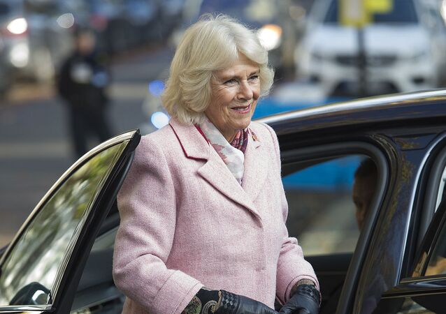 Britain's Camilla, Duchess of Cornwall reacts during a visit to Swiss Cottage Farmers Market in London on November 6, 2019