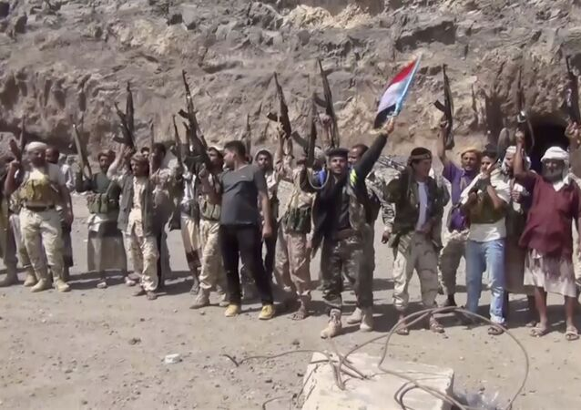 This frame grab from video shows fighters loyal to the separatist so-called Southern Transitional Council