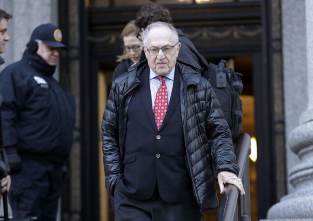 Attorney Alan Dershowitz leaves Manhattan Federal Court in New York