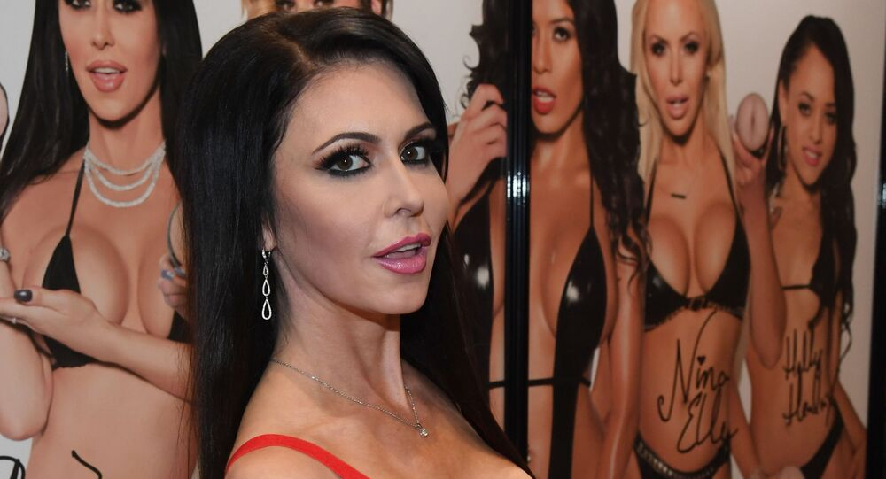 Adult film actress Jessica Jaymes poses at the Pornstar Signature Series booth at the 2018 AVN Adult Entertainment Expo at the Hard Rock Hotel & Casino on January 24, 2018 in Las Vegas, Nevada