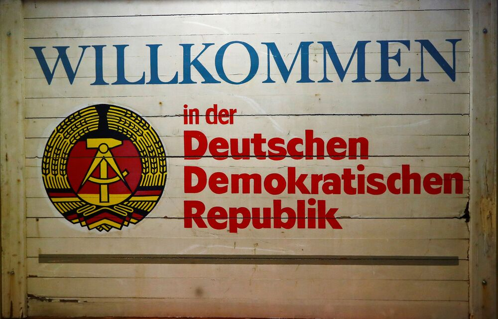 A sign is displayed at the GDR-Museum in Pirna, Germany; the words read: Welcome to German Democratic Republic. Picture taken 16 October 2019.