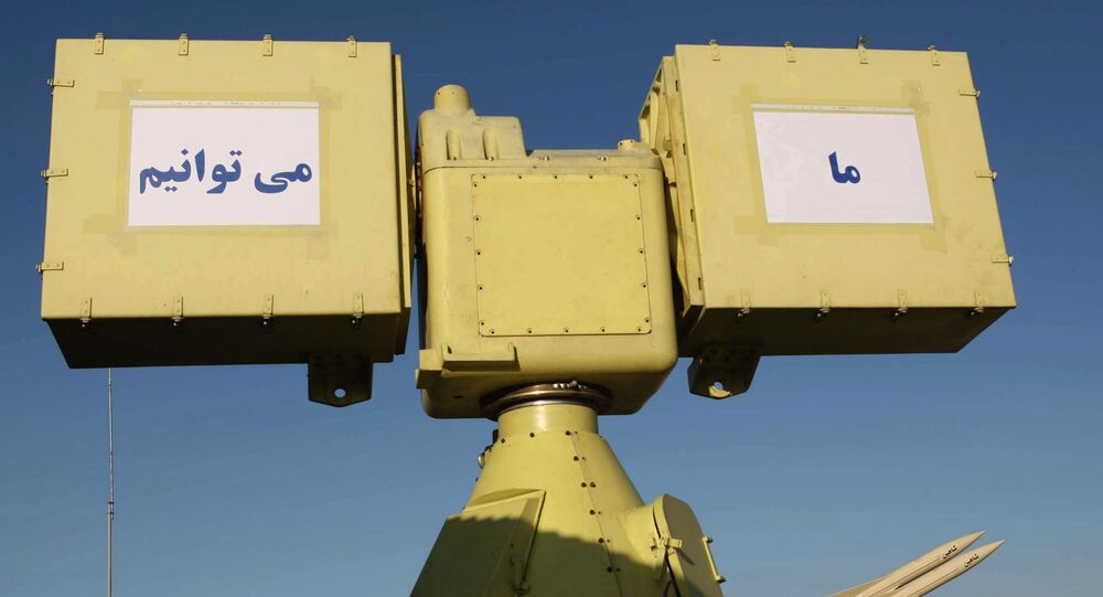 A picture shows a part of Iran's new medium range anti-aircraft air defence system Mersad (Ambush) and a Shahin (Hawk) medium range anti-aircraft missile (R) during a ceremony in Tehran on April 11, 2010