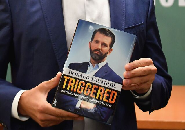 Donald Trump Jr., holds his new Book Triggered: How the Left Thrives on Hate and Wants to Silence Us at Barnes & Noble on 5th Avenue on November 5, 2019 in New York