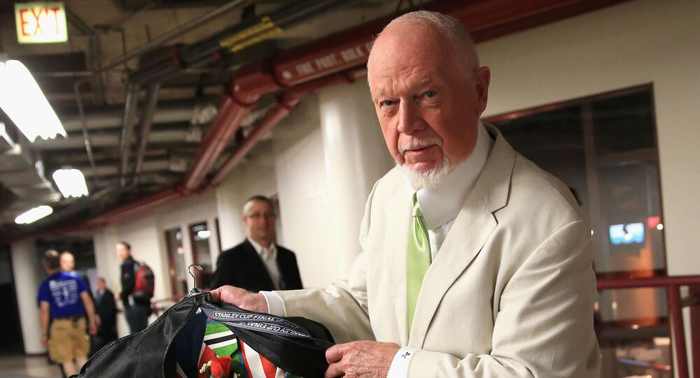 CHICAGO, IL - JUNE 22: Hockey analyst Don Cherry inspects the suit he plans to wear for Game Five of the 2013 NHL Stanley Cup Final between the Chicago Blackhawks and the Boston Bruins at United Center on June 22, 2013 in Chicago, Illinois
