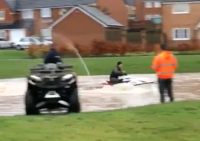 UK Man Makes the Most of Severe Flooding, Pulls Out Jet Ski