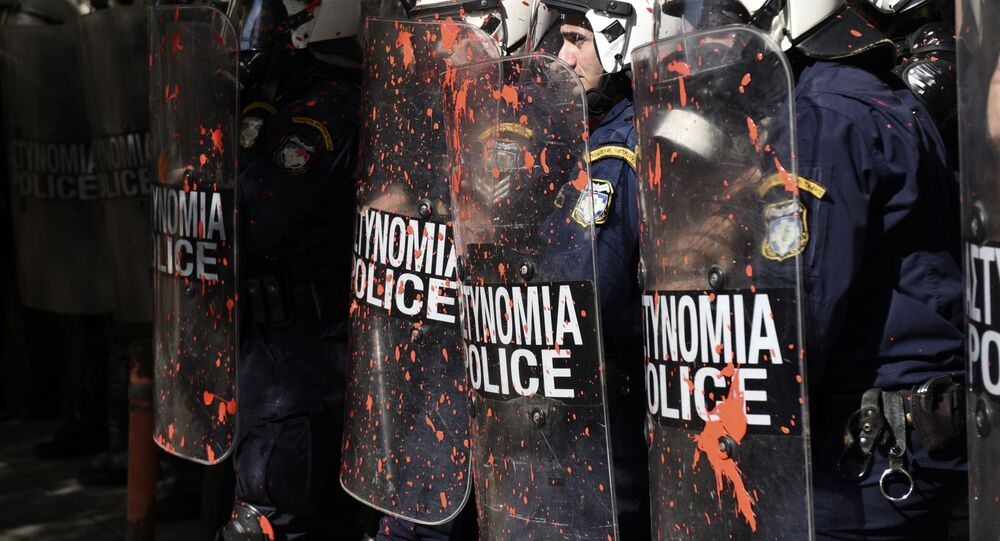 Greek riot police in the northern Greek port city of Thessaloniki