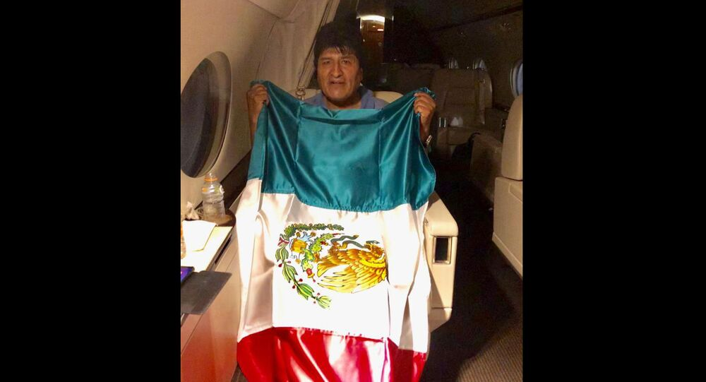 This photo released by by Mexico's Foreign Minister Marcelo Ebrard shows Bolivia's former President Evo Morales holding a Mexican flag aboard a Mexican Air Force aircraft, 11 November 2019