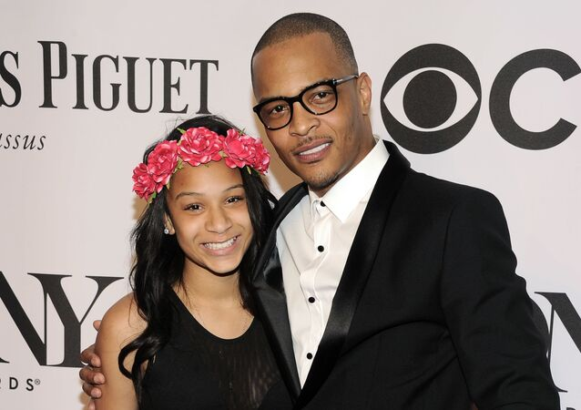 Deyjah Imani Harris, left, and T.I. arrive at the 68th annual Tony Awards at Radio City Music Hall on Sunday, June 8, 2014, in New York