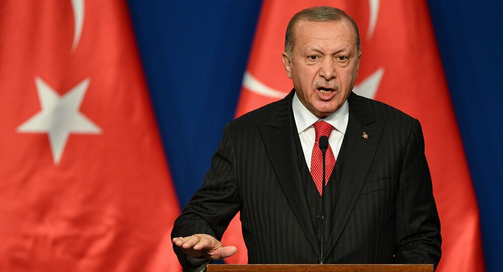 Turkish President Recep Tayyip Erdogan speaks during a joint press conference with Hungarian Prime Minister at Varkert Bazar cultural center in Budapest on November 7, 2019