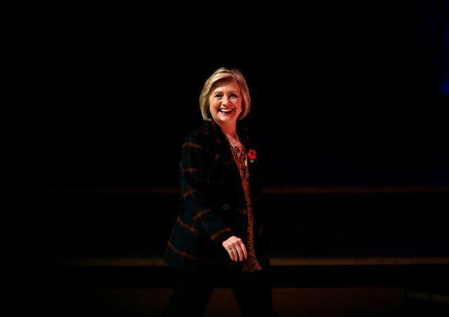 Former U.S. Secretary of State Hillary Clinton arrives to attend an event promoting The Book of Gutsy Women at the Southbank Centre in London, Britain, 10 November 2019
