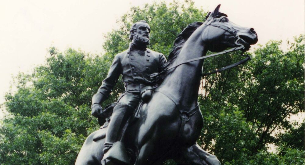In Charlottesville, Virginia. Erected 1921. Proposed for removal c. 2017 along with a staute of Robert E; Lee in Charlottesville. Sculptor Charles Keck. Paid for by Paul Goodloe McIntire.