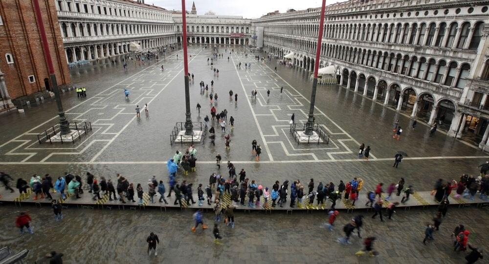 Flooded St. Mark's Square in Venice