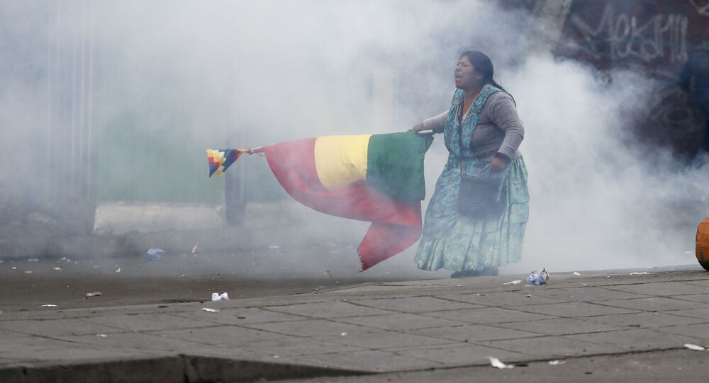 A supporter of former President Evo Morales in La Paz