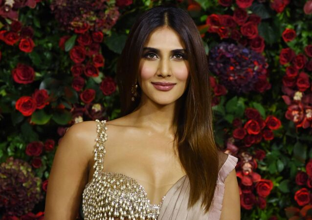 Indian Bollywood actress Vaani Kapoor poses for a picture during the wedding reception party of actors Ranveer Singh and Deepika Padukone in Mumbai late on December 1, 2018.