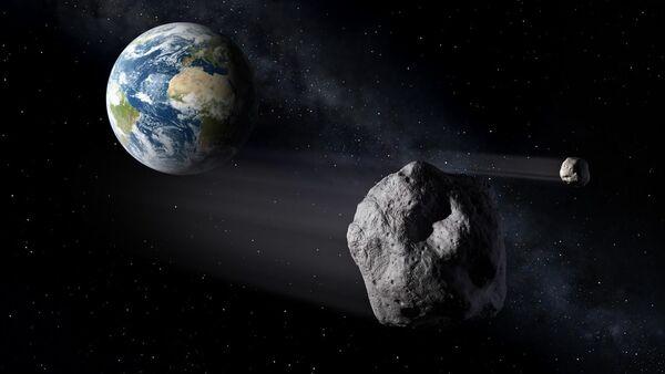 Artistic illustration of an asteroid flying by Earth - Sputnik International