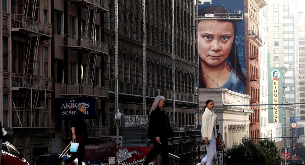 A view of a new four-story-high mural of Swedish climate activist Greta Thunberg on November 11, 2019 in San Francisco, California.