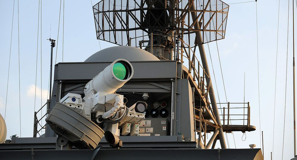 The U.S. Navy Afloat Forward Staging Base (Interim) USS Ponce (AFSB(I)-15) conducts an operational demonstration of the Office of Naval Research (ONR)-sponsored Laser Weapon System (LaWS) while deployed to the Arabian Gulf.