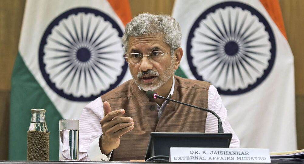 Indian Foreign Minister Subrahmanyam Jaishankar addresses a press conference on the performance of the ministry of external affairs in first 100 days of Prime Minister Narendra Modi's new term in office in New Delhi, India, Tuesday, 17 September 2019.