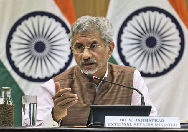 Indian Foreign Minister Subrahmanyam Jaishankar addresses a press conference on the performance of the ministry of external affairs in first 100 days of Prime Minister Narendra Modi's new term in office in New Delhi, India, Tuesday, Sept. 17, 2019