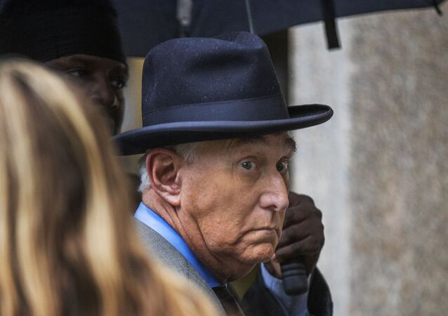 Roger Stone, a longtime Republican provocateur and former confidant of President Donald Trump, waits in line at the federal court in Washington