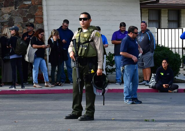 An armed Los Angeles Couty Sheriff's Department officer in Santa Clarita, California