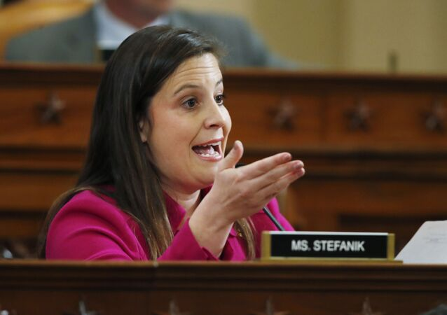 Rep. Elise Stefanik, R-N.Y., questions former Ambassador to Ukraine Marie Yovanovitch testify before the House Intelligence Committee on Capitol Hill in Washington, Friday, Nov. 15, 2019, during the second public impeachment hearing of President Donald Trump's efforts to tie U.S. aid for Ukraine to investigations of his political opponents.