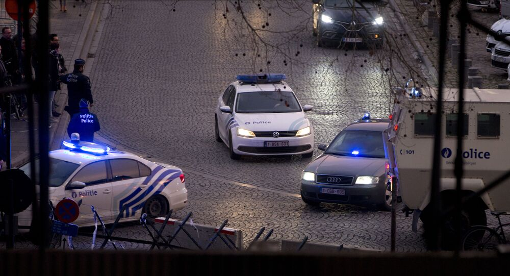 Police cars near the Justice Palace in Brussel