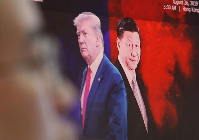 Images of Chinese President Xi Jinping and U.S. President Donald Trump