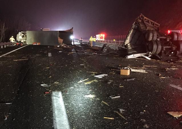 Truck-Bus collision