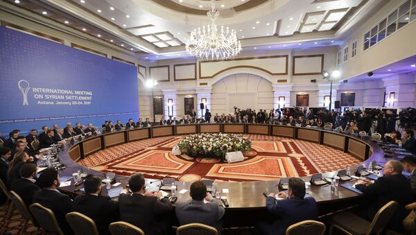 Delegations of Russia, Iran and Turkey at a hotel in Astana, Kazakhstan - Sputnik International
