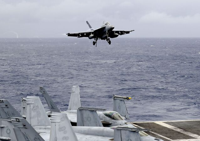 A US fighter jet on the U.S. aircraft carrier in South China Sea. File photo