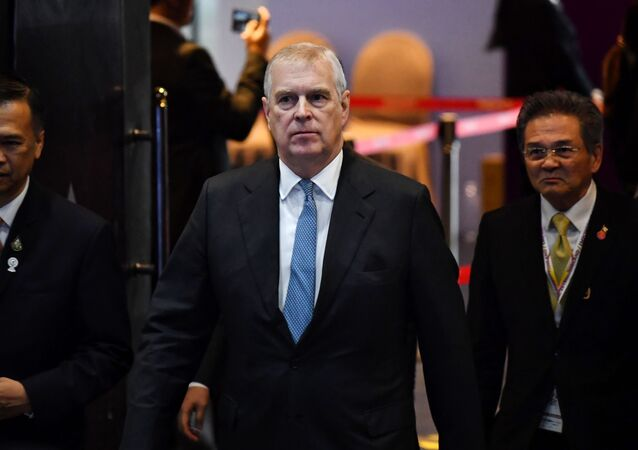 In this file photo taken on November 03, 2019, Britain's Prince Andrew, Duke of York arrives for the ASEAN Business and Investment Summit in Bangkok on November 3, 2019.