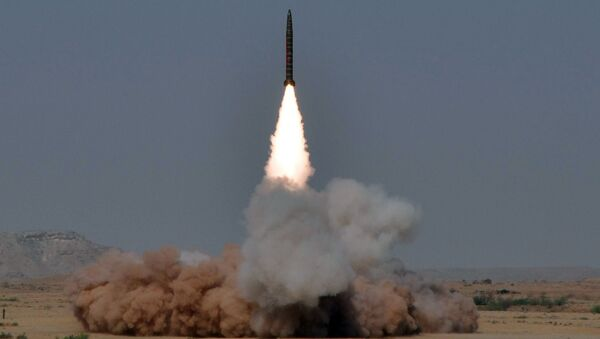 In this hand out picture released by the Inter Services Public Relations (ISPR) on May 8, 2010, a Hatf IV (Shaheen 1) medium-range nuclear-capable ballistic missile is launched from an undisclosed location in Pakistan - Sputnik International