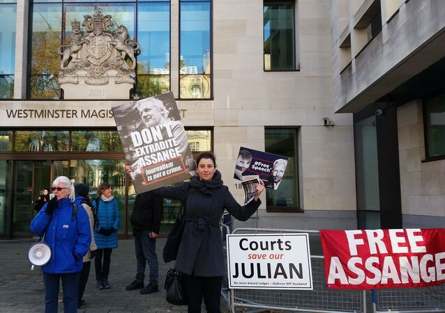 Supporters of Julian Assange hold signs outside of Westminster Magistrates Court on 18 Nov 2019