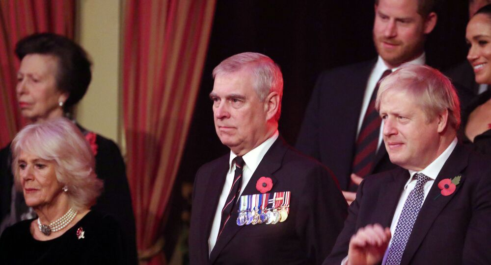 Britain's Camilla, Duchess of Cornwall, Prince Andrew and Prime Minister, Boris Johnson, attend the Royal British Legion Festival of Remembrance at the Royal Albert Hall in London, Britain November 9, 2019. Chris Jackson/Pool via REUTERS