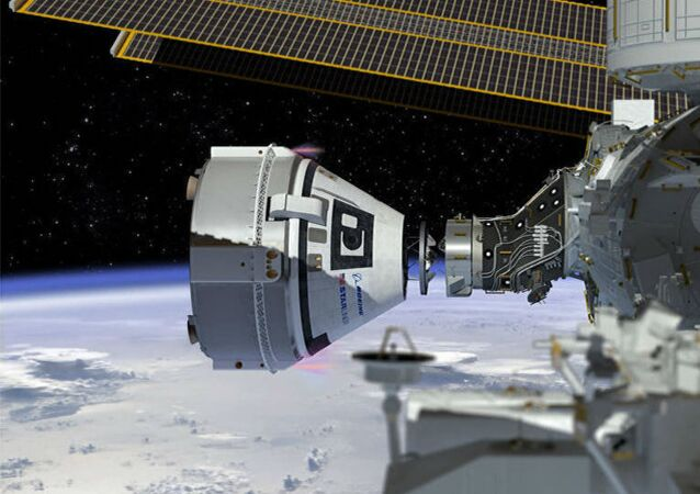 This artist's concept shows Boeing's CST-100 Starliner spacecraft, currently under development for NASA's Commercial Crew Program, docking to the International Space Station