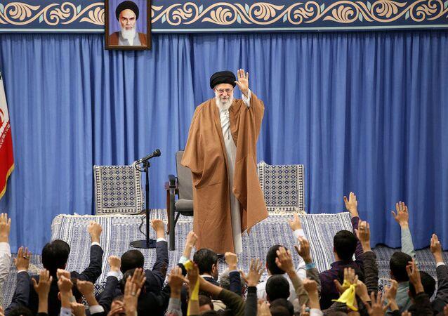 Iranian Supreme Leader Ayatollah Ali Khamenei meets with a group of school and university students in Tehran, Iran, November 3, 2019.