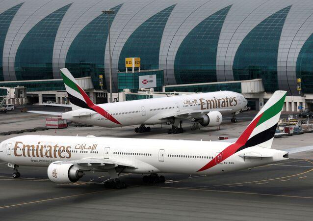 Emirates Airline Boeing 777-300ER planes are seen at Dubai International Airport in Dubai, United Arab Emirates February 15, 2019