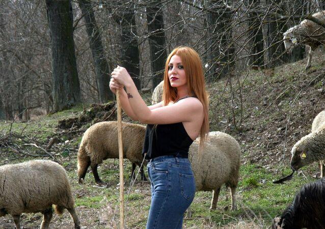 Girl and sheep
