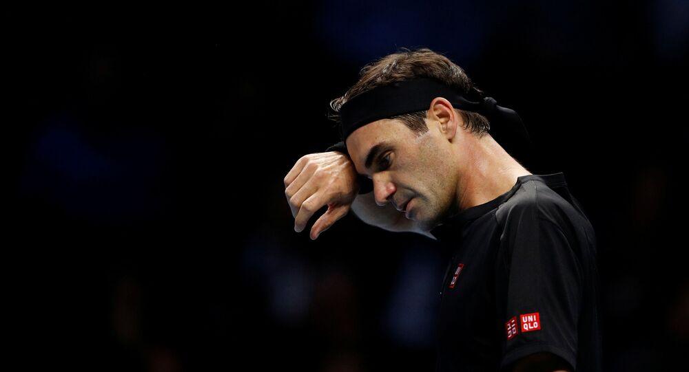 Tennis - ATP Finals - The O2, London, Britain - November 16, 2019   Switzerland's Roger Federer during his semi final match against Greece's Stefanos Tsitsipas