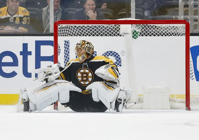 Nov 12, 2019; Boston, MA, USA; Boston Bruins goaltender Tuukka Rask (40) reacts after giving up the winning goal to Florida Panthers center Mike Hoffman (not pictured) during the shootout at TD Garden