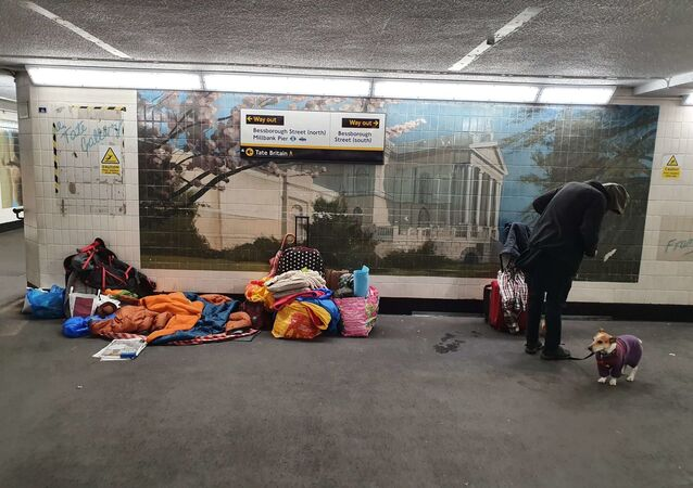 Homeless people make their beds in an underpass near Pimlico underground station in the Two Cities constituency