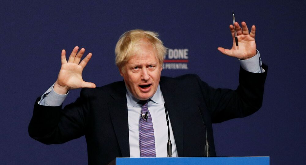 Britain's Prime Minister Boris Johnson speaks at the Conservative party's manifesto launch